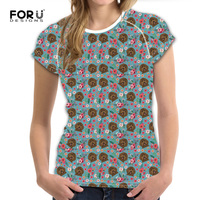 FORUDESIGNS Cute Women S Flower T Shirt Casual Summer Tops Tee Short Sleeve Personalized Labradoodle T