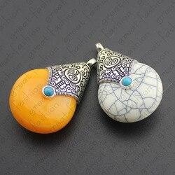 Nouveau 2 pièces mode rétro prière Tibet perles en argent pendentif à breloques perles en vrac bricolage pour la fabrication de bijoux livraison gratuite