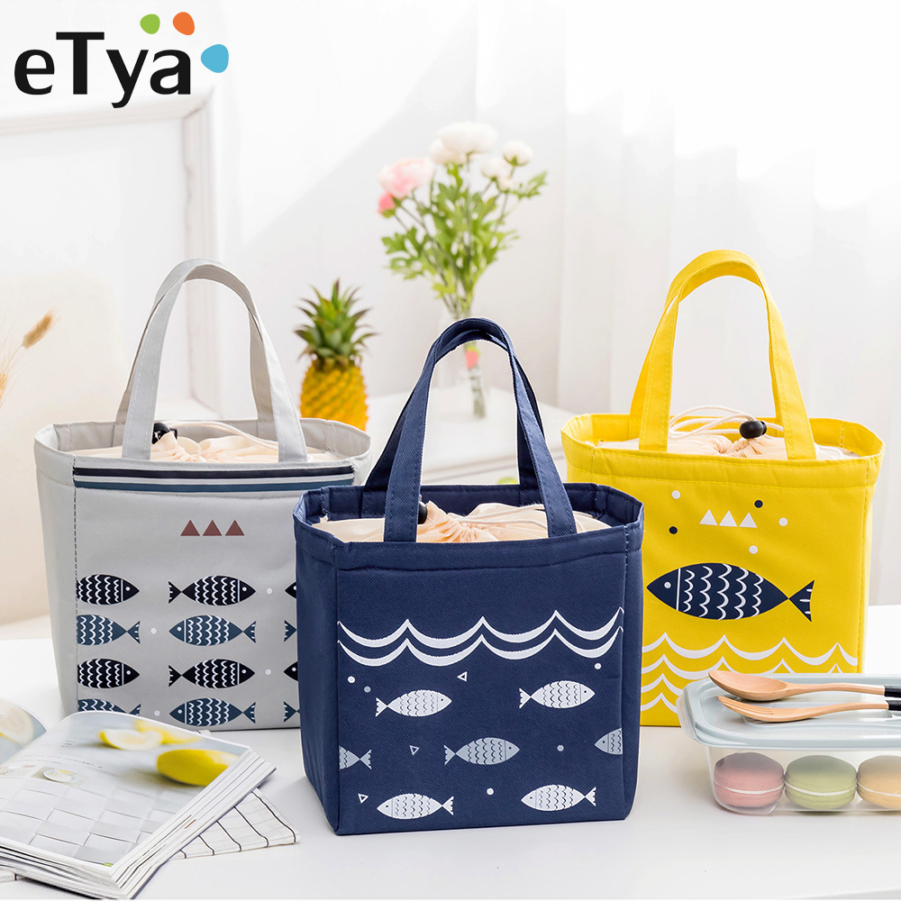 eTya Portable Lunch Bag Insulated Thermal Cooler Lunch Box Tote Storage Bag Picnic Tote kids School Food packing Box handbags striped tote lunch bag