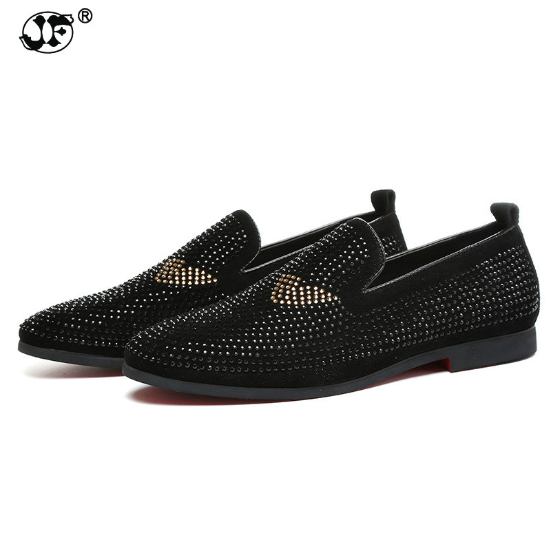 Brand Men loafers Silver Black Diamond Rhinestones Spiked Loafers Rivets shoes Red Bottom Wedding Party Shoes 658