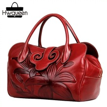 Embossed Lily Flower Chinese Style Cow Skin Lady Handbag Genuine Leather Womens Large Shoulder Bag Female Gift Purse For Mother