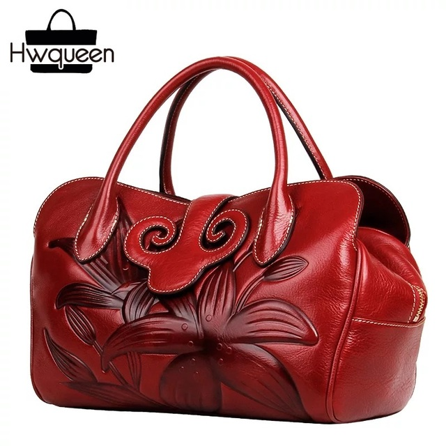 Embossing Lily Flower Designer Chinese Red Ladies Handbag Genuine Leather Woman Single Cross Shoulder Bag Gift Purse For Mother