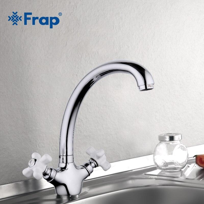Frap Kitchen Taps cozinha faucet Silver Brass Swivel Spout Kitchen Faucet Double Handle Vessel Sink Mixer