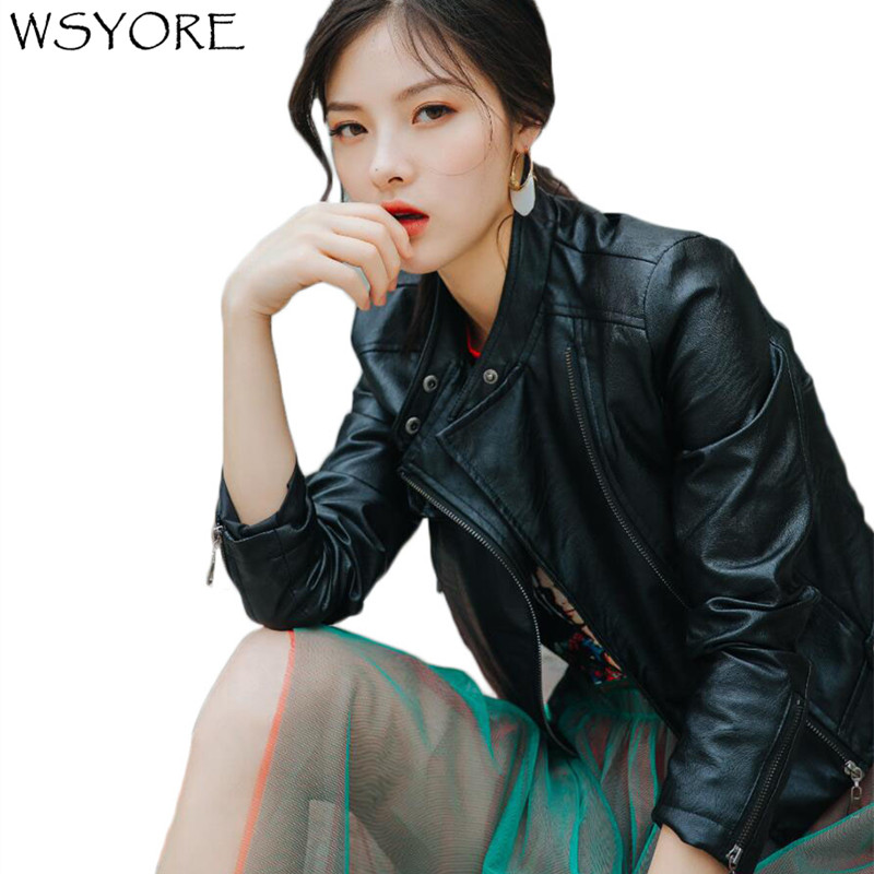 WSYORE 2019 New Autumn Motorcycle Jacket Women Black Casual Streetwear Long Sleeve Faux   Leather   PU Jackets and Coats NS438