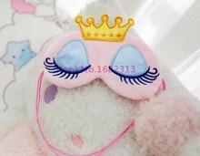 Pink/blue blindfold eyeshade crown eyelashes lovely sleeping girls mask cartoon eye