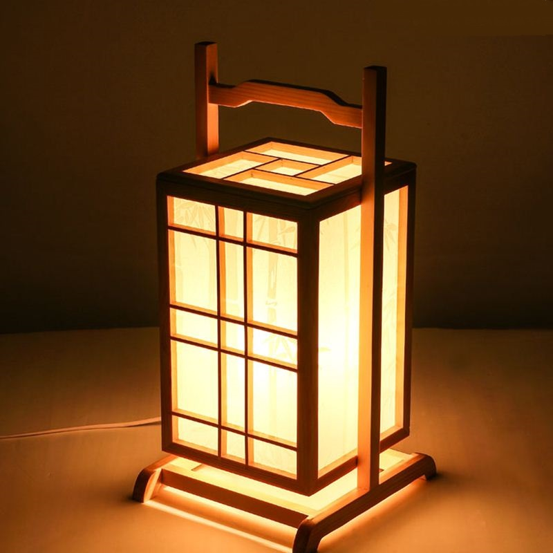 Japanese floor lamps wooden lantern creative personality for Lampen japan