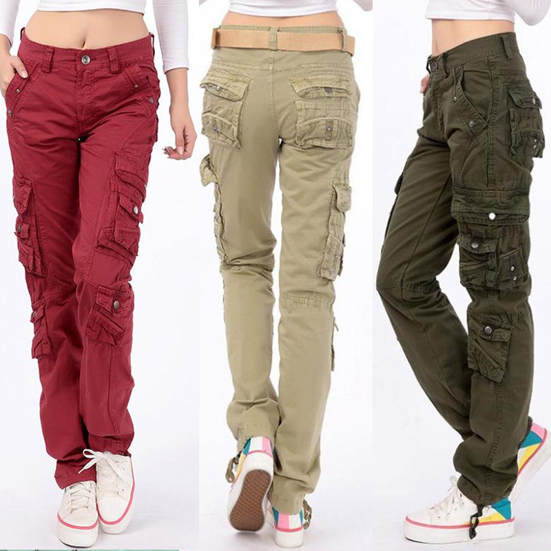 pantalon femme 2019 Women workout Cotton trousers Loose straight Multi-pocket cargo pants girls streetwear Hip-hop pants