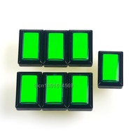 New 50mm*33mm 7pcs/lot 5V Rectangular LED Illuminated Arcade LED Button With Microswitch for Arcade Video Games & MAME Green
