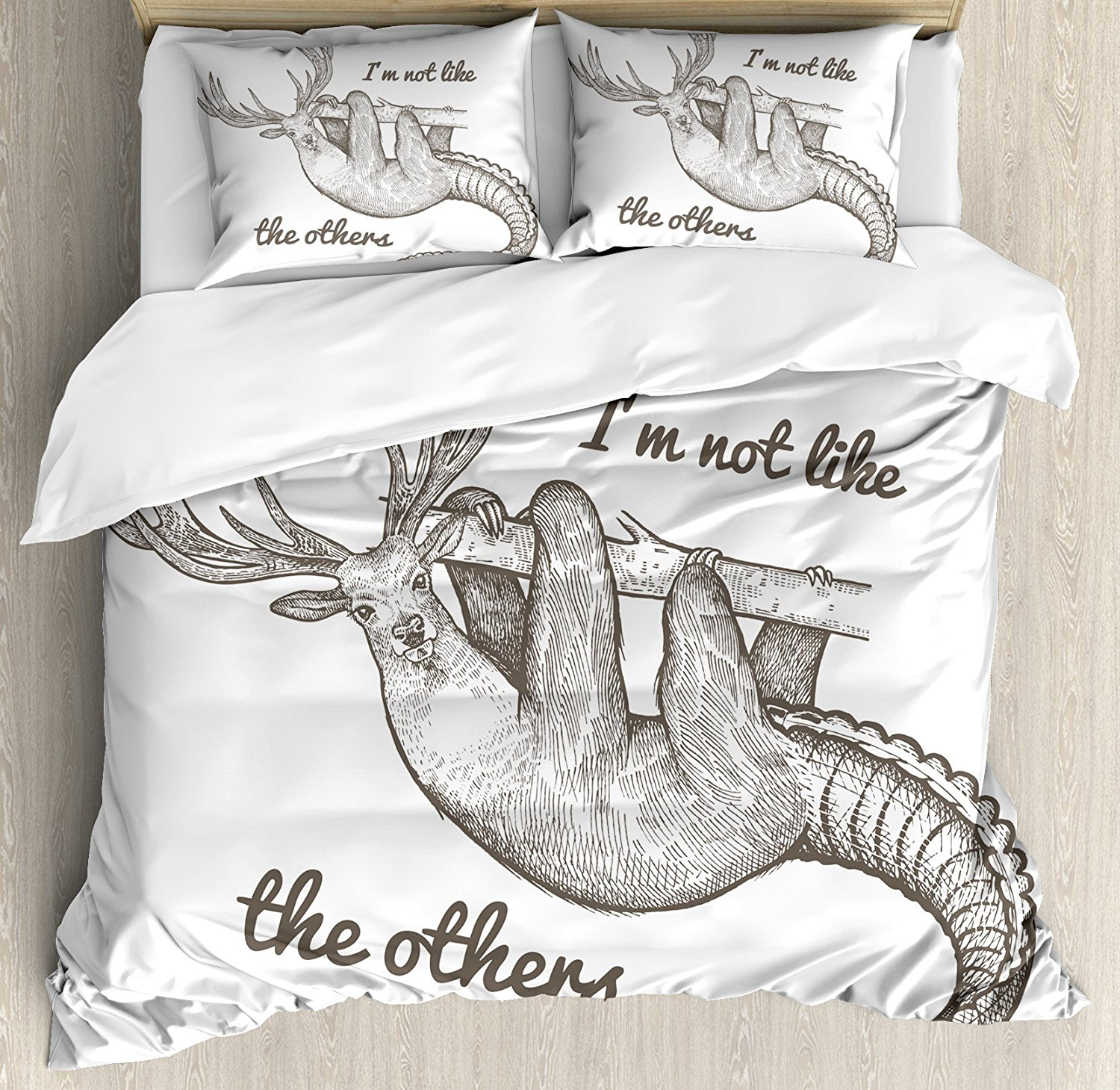 Sloth Duvet Cover Set Unusual Fantastic Animal Quote Im Not Like The Others Inspirational Vintage Bedding Set Grey Black White