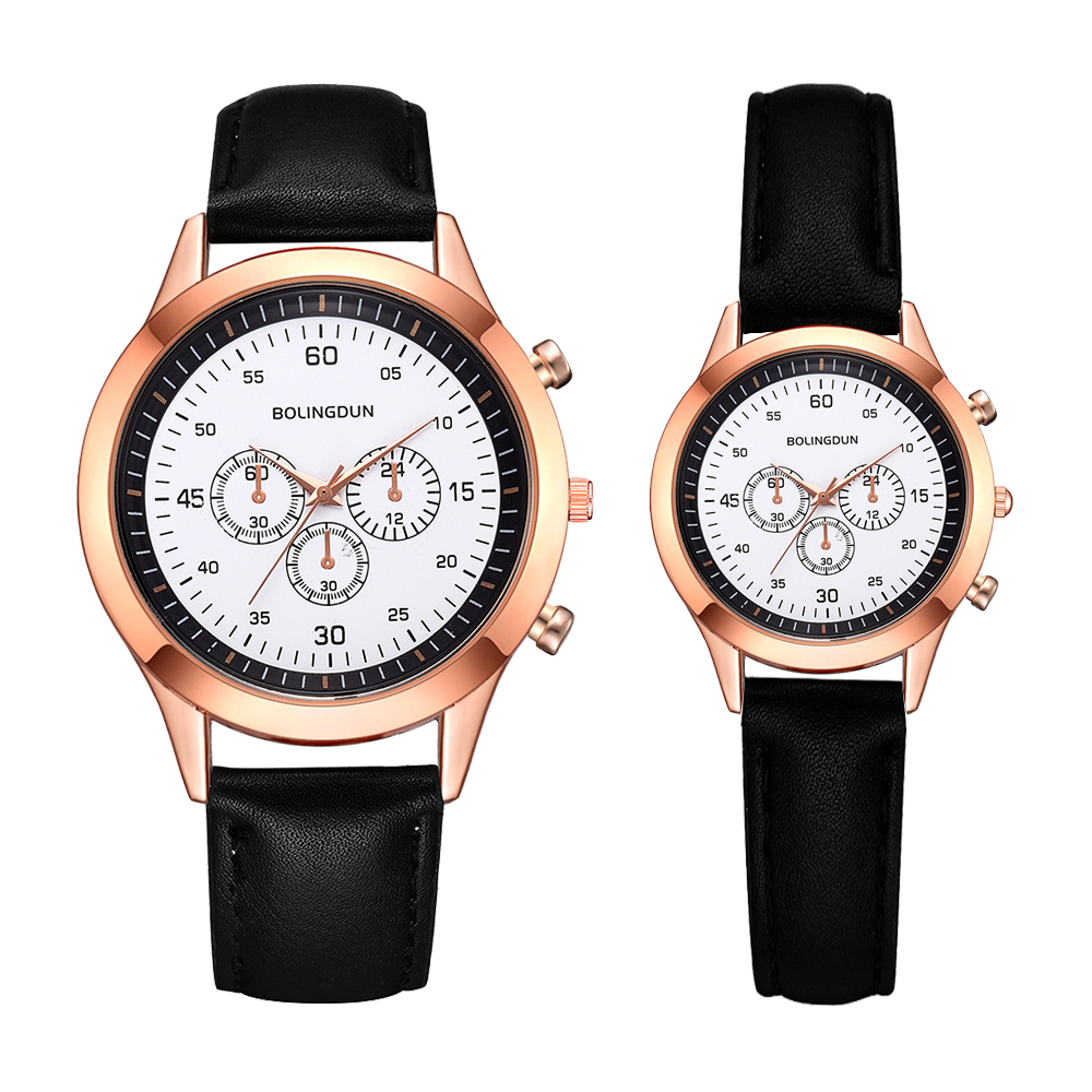 2 PCS Set Lover Couple Watche Casual Leather Band Quartz Wristwatch Men Women Fashion Watch Waterproof Sports Clock Relogio