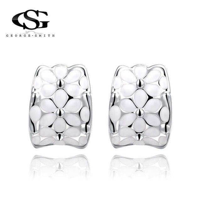 GS New White Flower Shiny Rhinestone Stainless Steel Crystal Earrings For Women