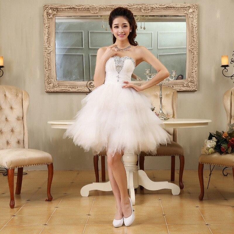 Vintage 1950s Style 2017 Cheap Short Wedding Dress White A