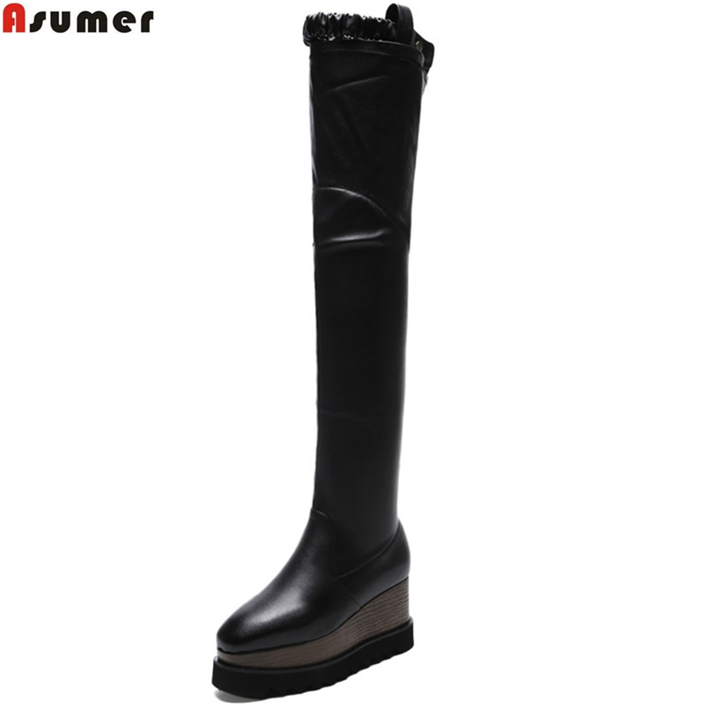 Asumer black fashion autumn winter new shoes woman square toe platform wedges pu+genuine leather high heels over the knee boots dijigirls new autumn winter women over the knee boots shoes woman fashion genuine leather patchwork long high boots 34 43