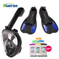 BLUERISE Diving Set Adults Snorkeling Diving Mask Fins Equipment Swimming Fins Flipper Scuba Mask Full Face Mask For Swim Adults