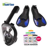 Máscara de buceo Bluerise Set de aletas Anti-niebla máscara de Snorkel cara completa antideslizante aletas para natación y buceo equipo de buceo máscara de aletas de natación