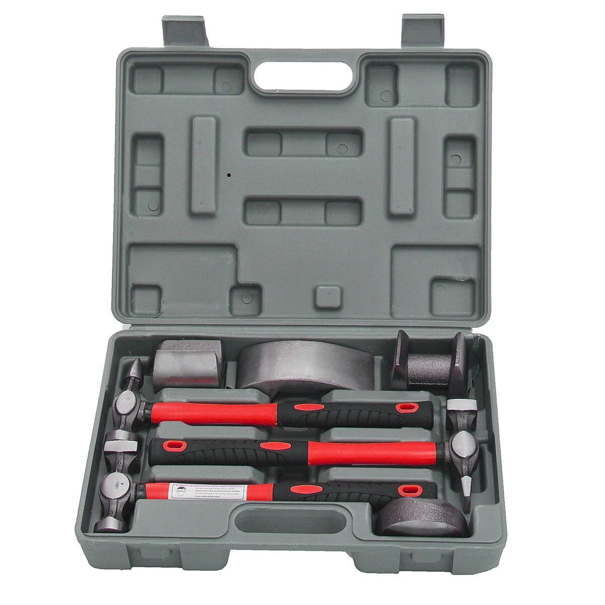 Kit Fender Fiberglass Auto Hammer Body Tools 7Pcs Bender Tool Dolly Repair Dent