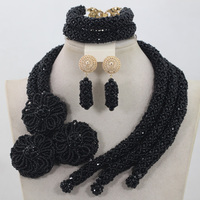 2b211bef09b7 Wedding Crystal Attractive Black Beads African Jewelry Sets Bridal Party  Jewelry Set For Women Gift Free