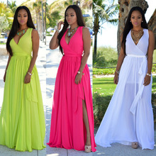 2016 Autumn Women Loose Maxi Dress Deep V Sleeveless Casual Womens Dresses Female Elegant Sexy Chiffon Long Dress Vestido