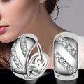 2015 Hot Women's Fashion Shiny Rhinestone  Silver Plated Hoop Eardrop Earrings Jewelry Chrismas Gift