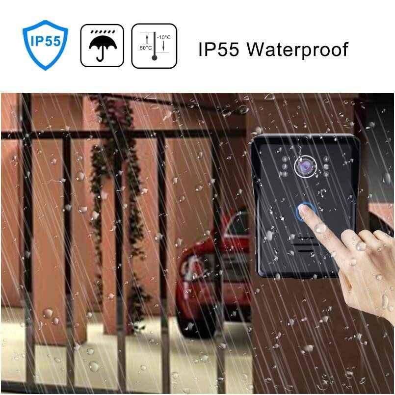 7 بوصة السلكية الفيديو باب الهاتف للماء جرس الباب نظام اتصال داخلي دعم فتح مع مراقبة الأشعة تحت الحمراء للرؤية الليلية كاميرا