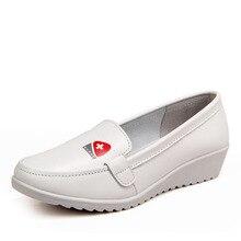 2016 Обувь Дышащая Натуральная Кожа Плоские Женщин Туфли На Платформе Белый Мягкий Медсестра Женской Обуви Рабочая Обувь