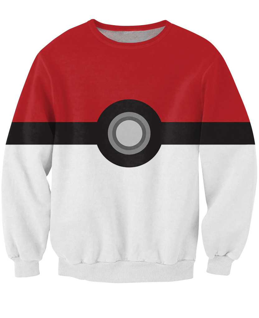 Women/Men Spring Sweatshirt 3D Print Pokemon Pokeball Catch Em All Sweat Crewneck High Tech Ball Hoddies