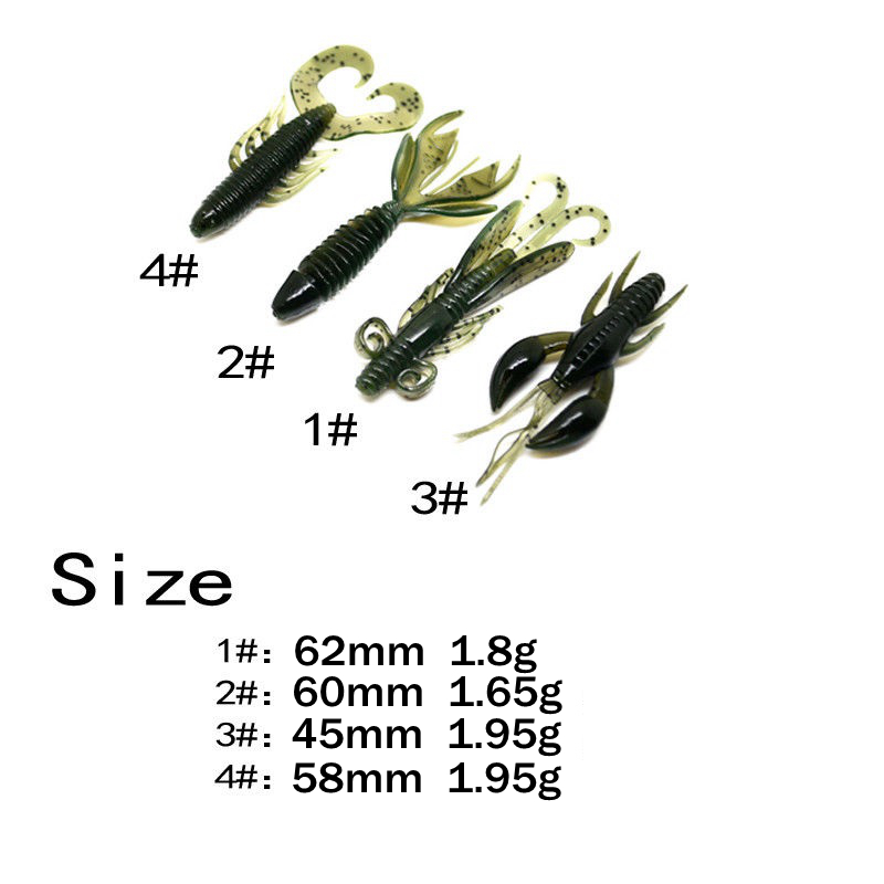 Image 3 - 4 Pcs Soft Shrimp Fishing Lure set 4 type Artificial Wobblers Silicone Soft Bait Tackle Crayfish / Spooky Shrimp Oxtail maggot-in Fishing Lures from Sports & Entertainment