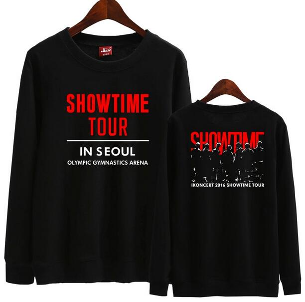 Ikon concert showtime tour seoul same printing o neck unisex hoodie kpop spring autumn loose pullover bobby b.i sweatshirt