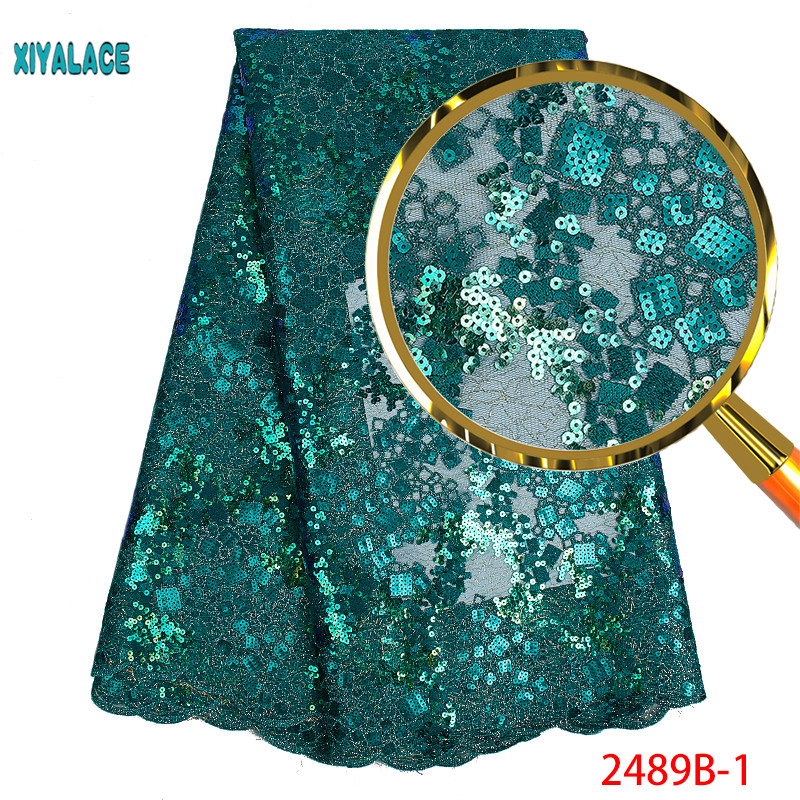 African Lace Fabric 2019 High Quality Nigerian Lace Fabrics Organza Sequins Beads Embroidery French Tulle Lace Fabric YA2489B-1