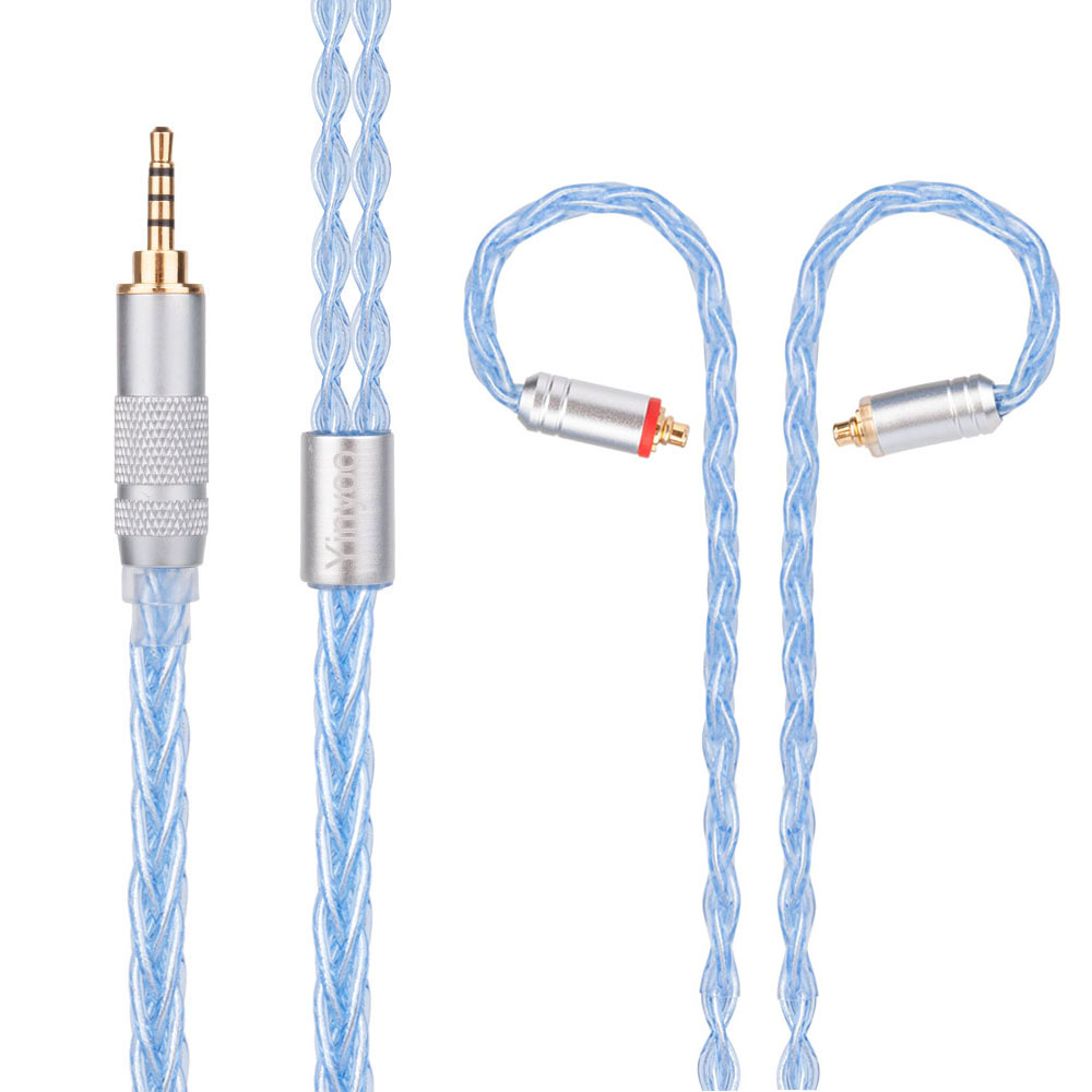Yinyoo 8 Core Silver Plated Blue Copper Cable 2.5/3.5/4.4mm Balanced Earphone Upgrade Cable With MMCX/2Pin yinyoo 4 core pure silver cable 2 5 3 5 4 4mm balanced earphone upgrade cable with mmcx 2pin