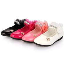 New Rose pink white black Children princess shoes Baby Girls Shoes flowers bows Rhinestone Girls Leather Shoes Kids Party shoes rose pink red orange children princess shoes baby girls shoes kids bows rhinestone girls leather shoes kids party shoes 3 15t