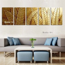 Large 5 Panel Canvas Painting Handpainted Abstract Oil Modern Gold Leafs Picture Home Decor canvas painting decorative