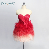 Real Made New Custom Made Feather Prom Dress 2018 Burgundy Cocktail Party Dress Cute Short Prom