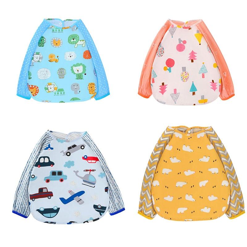 0 36 Month Cartoon Bibs For Newborn Baby Girls Cotton Feeding Burp Cloths Waterproof Long Sleeve Apron Infant Boy Girl Baberos in Bibs Burp Cloths from Mother Kids