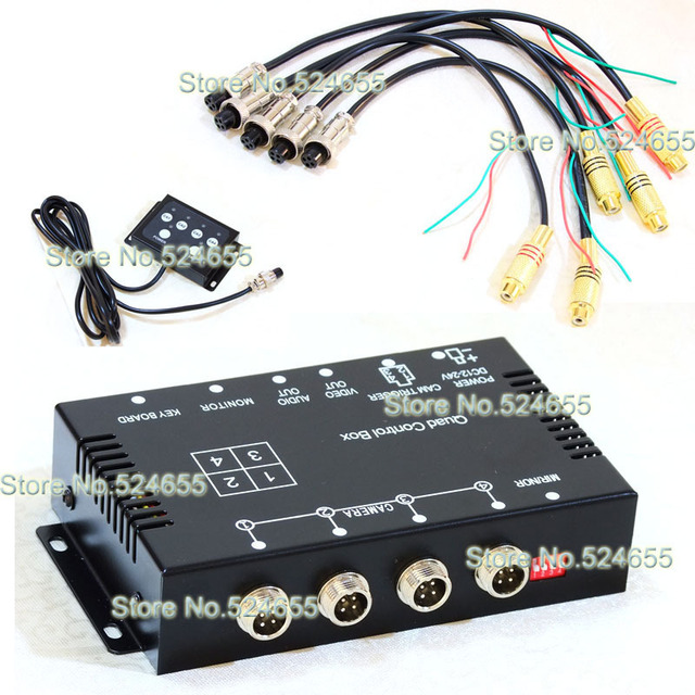 Car Camera Video Quad Split Control Box With Mirror Switch For Each Camera (NTSC/PAL cameras supported)