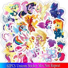62 sztuk seria z jednorożcem zestaw naklejek Cartoon naklejki na rower dla dzieci lodówka Laptop zabawka dla dzieci naklejki anime kucyk little pony naklejki