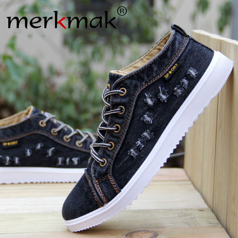 British Style Fashion Vintage Denim Jean Canvas Shoes Men High Top Casual Man Ankle Boots Flat