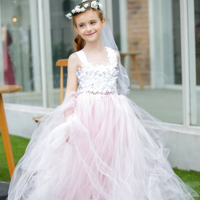 Elegant Pink Color White Flower Girl Dresses Pearls Flower Straps Ankle Length Baby Tutu Dress Girls wedding party dress elegant white flower girl dresse light pink girls tutu dresses with pearls flower baby girls dresses for wedding party birthday