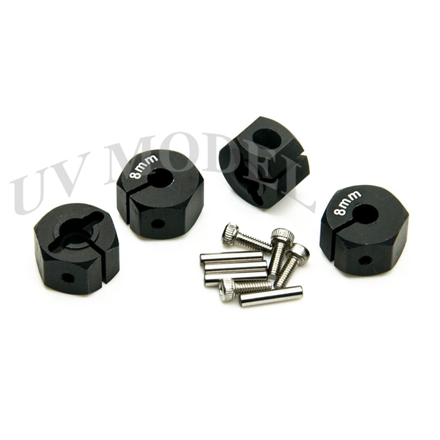 12mm Black RC Aluminum 8mm Thickness Wheel Hex Drive With Pins&Screws For D90/SCX10 1:10 Racing Car Drive Hubs For RC Model Car