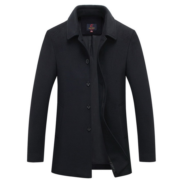 10a4e4915588 New Winter woolen long peacoat men slim fit casual thick overcoat mens warm  Windbreaker trench Jacket coat Single breasted black