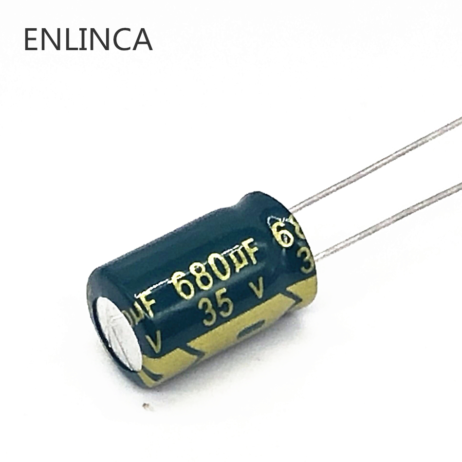 10pcs/lot T07 Low ESR/Impedance High Frequency 35v 680UF Aluminum Electrolytic Capacitor Size 10*15 680UF35V 20%