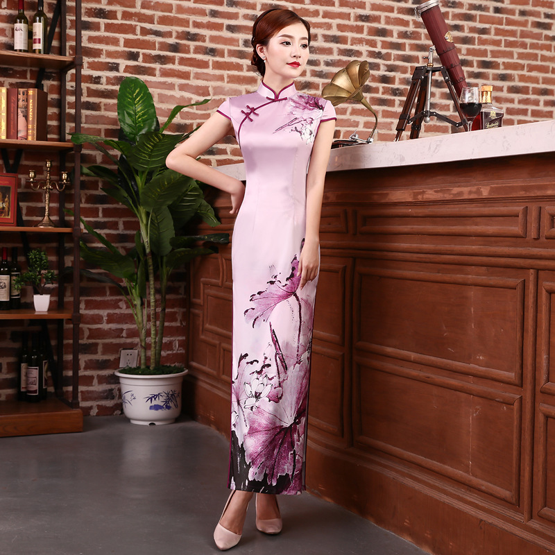 Novelty Sexy Long Cheongsam Summer Traditional Chinese style Dress Womens Rayon Qipao Slim Party Dresses Button