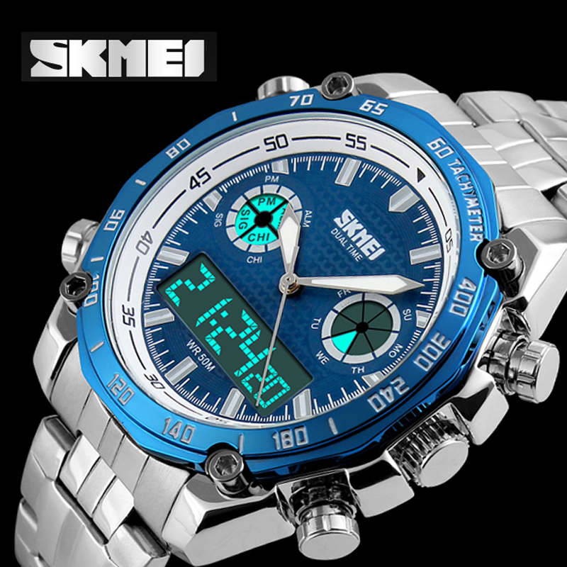 2016 Sports Watches Men Luxury Brand Quartz Men Digital LED Clock Male Full Steel Army Military Wrist Watch relogio masculino купить