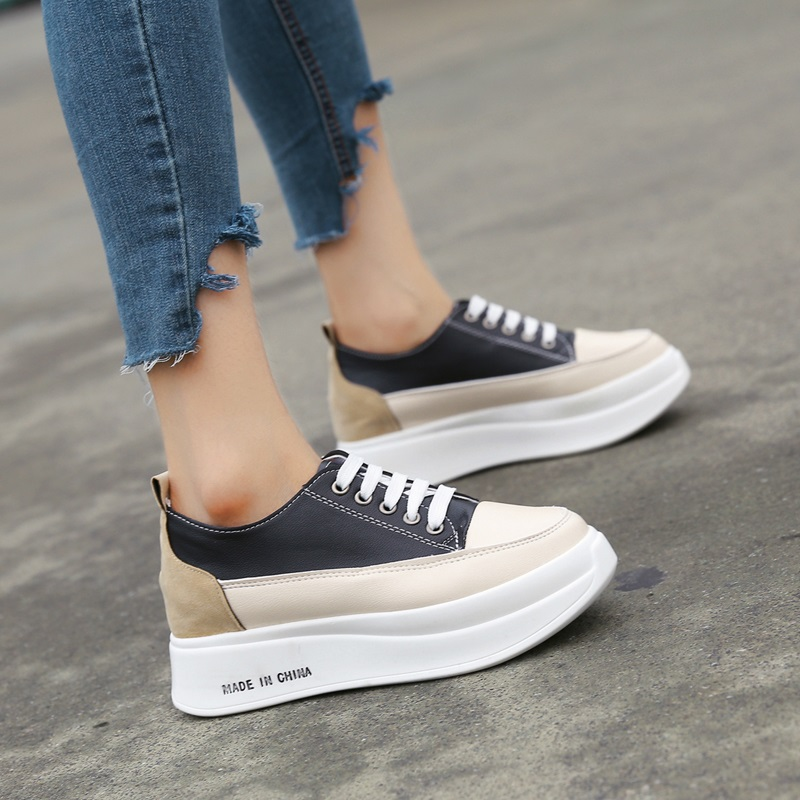 Ladies Casual Shoes 2019 Spring Fashion Lace-Up Women's Shoes British Style Women Sneakers Autumn Platform Shoes High Heels