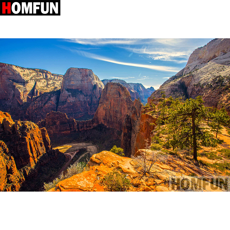 HOMFUN 5D DIY Diamond Painting Full Square Round Drill quot Mountain scenery quot Embroidery Cross Stitch gift Home Decor Gift A08364 in Diamond Painting Cross Stitch from Home amp Garden