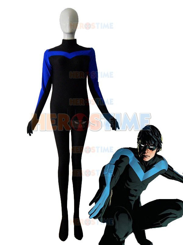 Nightwing Superhero Costume Spandex adult halloween cosplay costumes the most classic show zentai suit free shipping