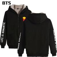 BTS 2018 GOOD LIFE BTS Kpop Winter Casual Brand Hoodies Clothes Zipper Cap Hoodies Men/Women Thicken Warm Sweatshirt Plus Size