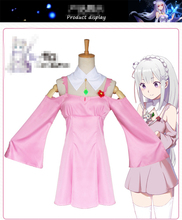 Anime Re:Life in a different world from zero Emilia Cosplay Costume Pink And Green Color Dress