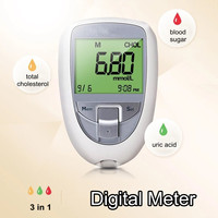 3 in 1 Household Cholesterol Uric Acid Blood Glucose Test Kit ABS Glm Meter Medical Monitoring System Health Care for Diabetes