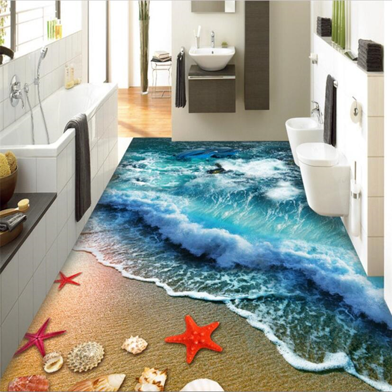 Wallpapers Beautiful 3d Flooring Starfish Conch Bathroom Bedroom 3d Floor Bathroom Pvc Wallpaper 3d Floor Painting Wallpaper Rich And Magnificent Painting Supplies & Wall Treatments